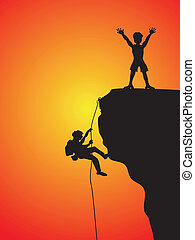 two climbers climbing the cliff