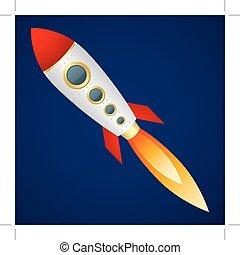 Rocket on a dark blue background. Cartoon style. Vector Image.