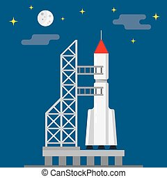 Rocket ready to launch on a blue background, vector illustration
