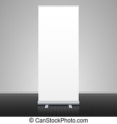 Roll up banner stand vector illustration