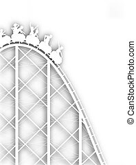 Editable vector cutout silhouette of a steep rollercoaster ride with background shadow made using a gradient mesh