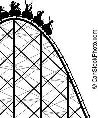 Editable vector silhouette of a steep rollercoaster ride