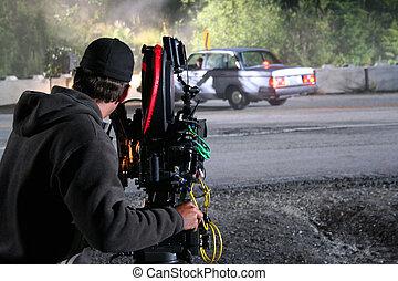 A cameraman captures a car crash during filming of a tv miniseries.