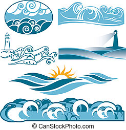 Clip art of abstract rolling blue seas and waves