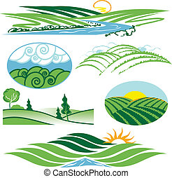 Clip art collection of hills and valleys
