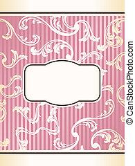 Romantic elegant French retro label in pink