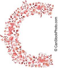 Romantic floral letter C