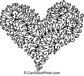 Romantic floral refined vignette 135. Eau-forte black-and-white swirl decorative vector illustration.