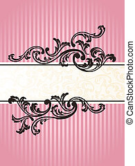 Romantic vertical French retro banner in pink