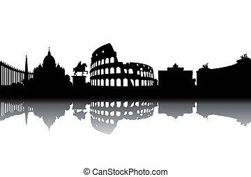 Rome skyline - black and white vector illustration