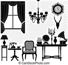 A set of objects representing an old grandfather living room with antique furniture.