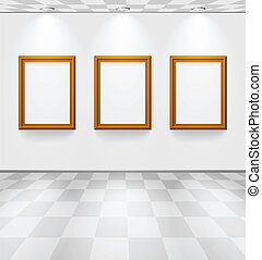 White room with checked floor and wooden frames