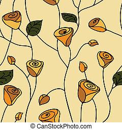 Rose seamless pattern yellow