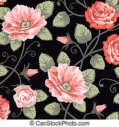 Roses seamless background