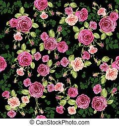 Roses seamless pattern on dark background