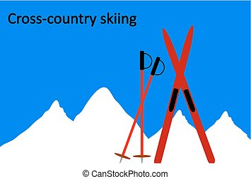 ?ross-country skiing on mountain background.
