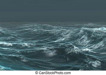 Digitally generated rough blue ocean under dark sky