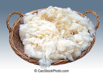 Basket of rough wool