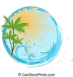 Round banner with palms, sunshine and ocean wave