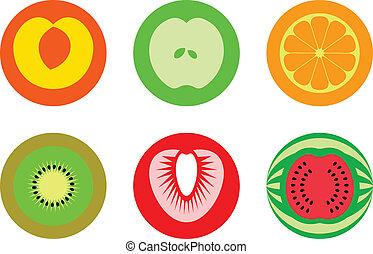Round cut fruit symbols