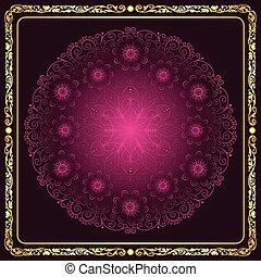 Round floral purple pattern