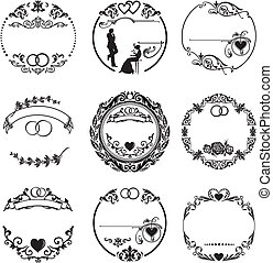 Round frame with wedding ornaments, with the rings, hearts, patterns, and a young couple in love
