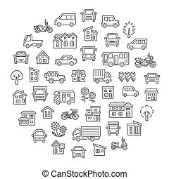 round icon gallery of house and car and bike and plant - only line with the gap -