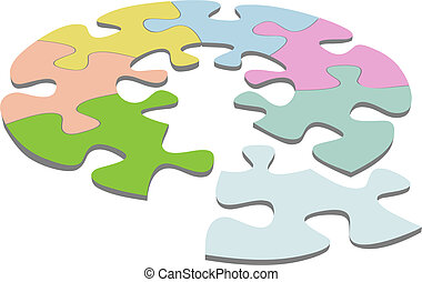 A round jigsaw puzzle with pieces as a symbol of your unique circular solutions.