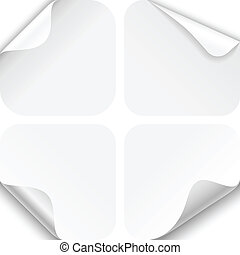 Set of four paper folds with rounded corners, isolated on a white background. EPS10 file with transparency.