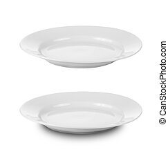 round plate or dishes isolated on white with clipping path included