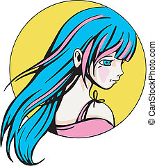 Round portrait of young cute anime girl. Colorful vector illustration.
