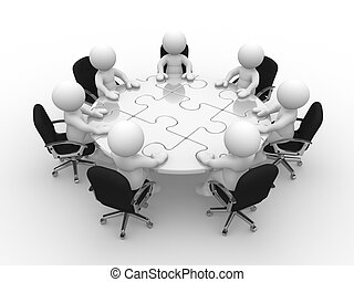 3d people - human character, person at a round table with puzzle pieces ( jigsaw) . 3d render