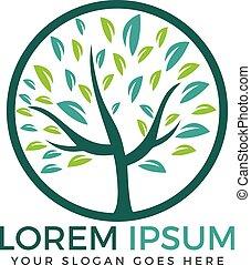 Round tree logo design.