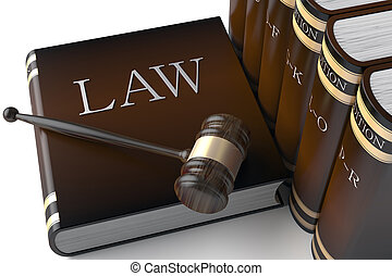 3d Judges gavel and law books