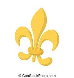 Royal french lily icon, cartoon style