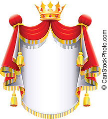 royal majestic mantle with gold crown vector illustration isolated on white background
