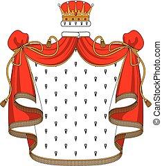Royal red velvet mantle with golden crown