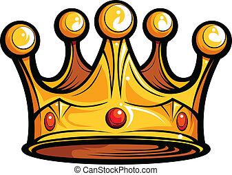 Golden Crown for a Royal King Cartoon Vector Illustration