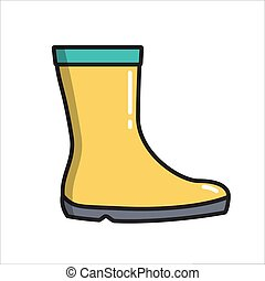 Rubber boots, simple gardening icon in trendy line style isolated on white background for web apps and mobile concept. Vector Illustration