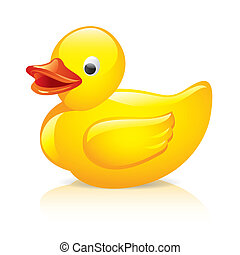 Rubber duck isolated on white photo-realistic vector illustration