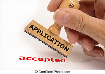 rubber stamp marked with application accepted