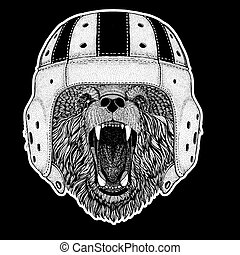 Rugby player. Bear Hand drawn picture for tattoo, t-shirt, emblem, badge, logo, patch