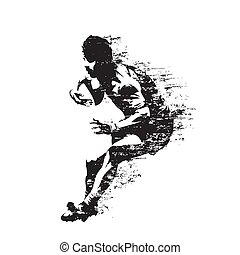 Rugby player running with ball, abstract isolated vector silhouette, side view