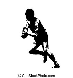 Rugby player running with ball, abstract isolated vector silhouette. Side view