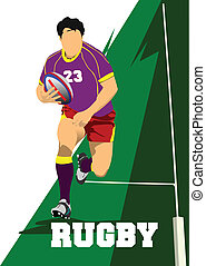 Rugby Player Silhouette. Vector ill
