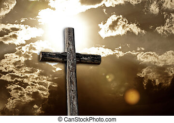 Rugged Cross, Bright Sun and Clouds