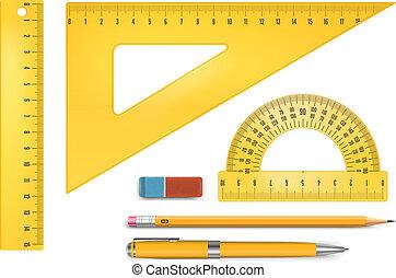 Yellow plastic ruler instruments and school equipment. Vector illustration.