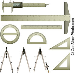 A set of mathematics measurement instrument with accurate measurement.
