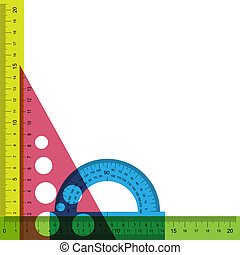Ruler, protractor and triangle with simulated transparency. Vector illustration.