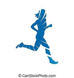 Run. Blue running woman, abstract vector silhouette